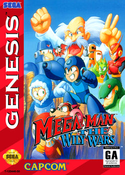 Mega Man: The Wily Wars (Sega Genesis / Mega Drive) - Reproduction Video Game Cartridge with Clamshell Case and Manual