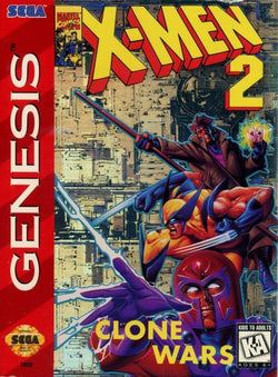 X-Men 2: The Clone Wars (Sega Genesis / Mega Drive) - Reproduction Video Game Cartridge with Clamshell Case and Manual
