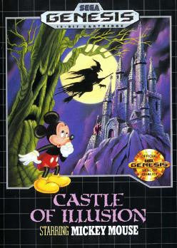 Castle of Illusion (Sega Genesis, 1990) - Repro Cart w/ Clamshell Case and Manual - CrebbaTECH