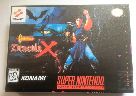 Castlevania Dracula X (Super Nintendo, SNES) - Reproduction Video Game Cartridge with Universal Game Case & Glossy Manual - CrebbaTECH