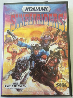 Sunset Riders (Sega Genesis / Megadrive) - Reproduction Cartridge with Clamshell Case and Manual - CrebbaTECH