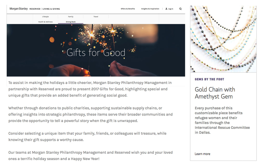 GEMS BY THE FOOT™ in Morgan Stanley 2017 Gifts for Good - November 2017
