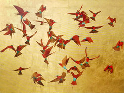 Ascent - Carmine Bee Eaters - Oil on 24k Gold