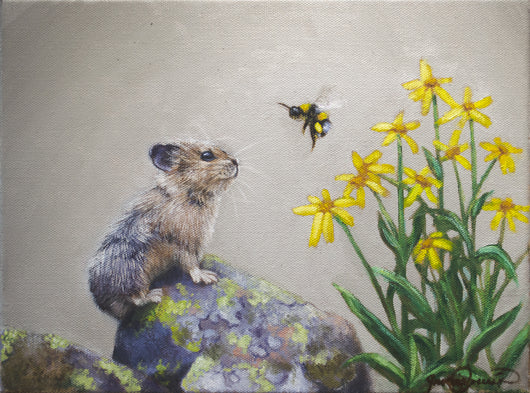 a mountain pika watches a bumble bee in wildflowers wildlife oil painting by james corwin fine art