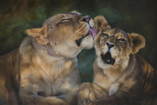 african mother lion grooms her cub original oil painting art