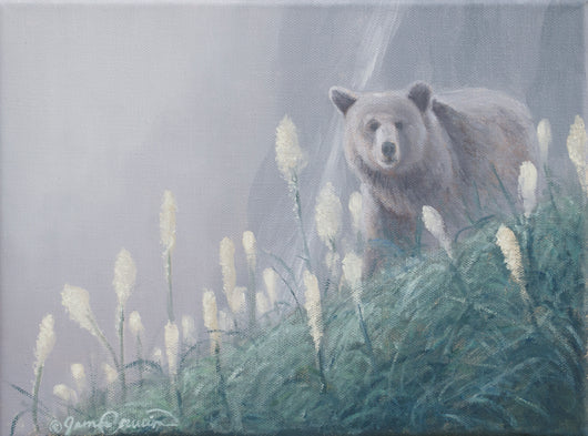 a grizzly bear in bear grass and mist oil painting by james corwin wildlife artist