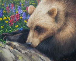 sleeping grizzly bear in wildflower patch with butterflies wildlife painting by james corwin fine art