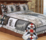 Western Moose Bed Quilt Set with 2 Pillow Shams