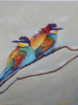 european bee eaters birds of africa wildlife painting by fine artist james corwin