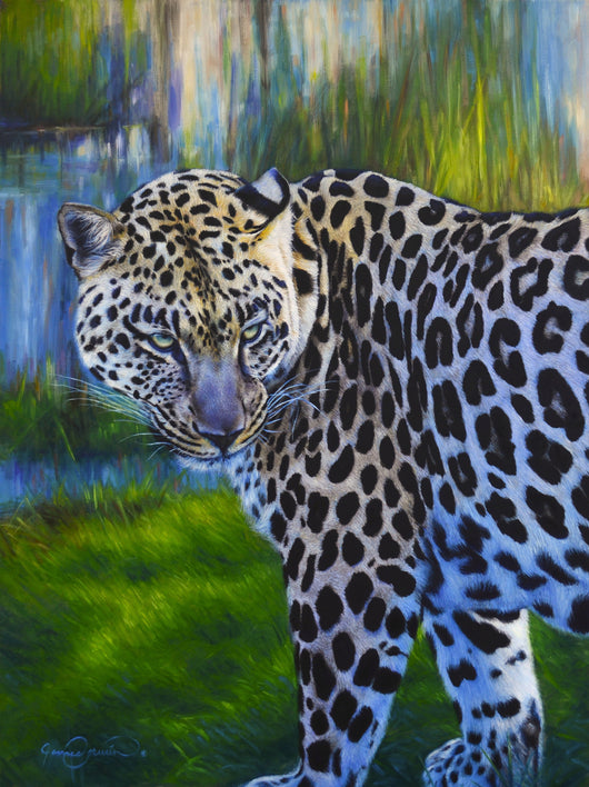 african leopard in marsh original oil painting wildlife art by james corwin