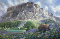 chief mountain in glacier national park with grizzly bear and wildflowers oil painting by wildlife artist james corwin