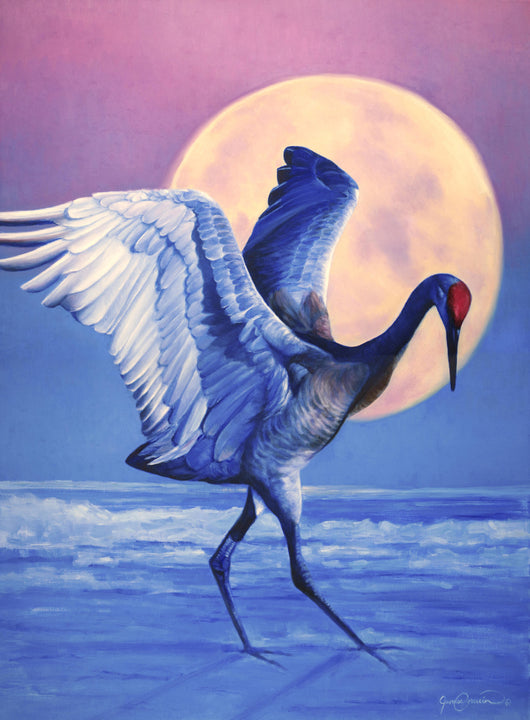 sandhill crane bird dancing against moon painting by wildlife art james corwin