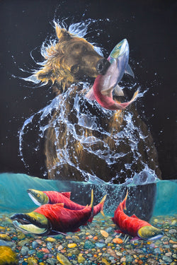 Alaskan Brown Bear pulling sockeye salmon out of river james corwin wildlife artist