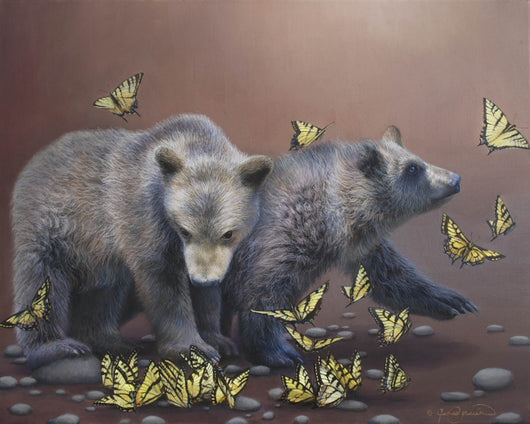curiosity grizzly bear cubs watch tiger swallowtail butterflies contemporary art wildlife painting by james corwin artist