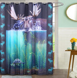 Bathroom Shower Curtain Set, Wildlife Animal Lover, Original Oil Painting Artwork, Contemporary Home Decor, Metal Grommets, Includes 12 Hooks
