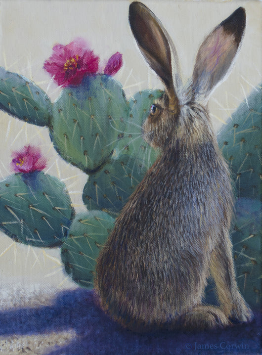 desert jack rabbit wildlife painting cactus wildflowers artist james corwin