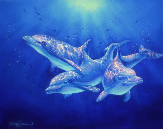 bottlenose dolphins swim underwater in florida wildlife painting by artist james corwin