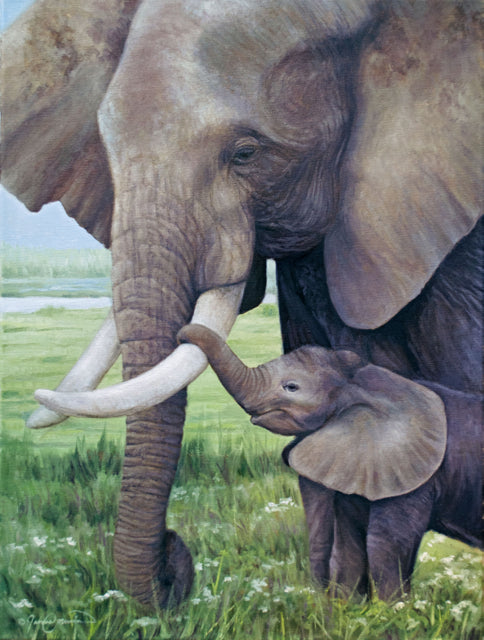 elephant and cute baby tender moment oil painting by james corwin fine art wildlife artist
