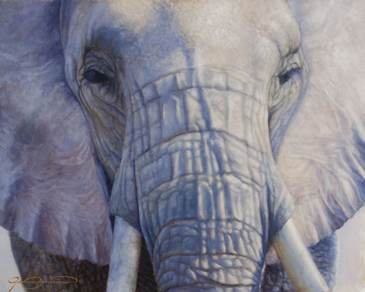 african elephant portrait by wildlife artist james corwin fine art oil painting