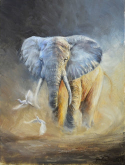 african elephant with egrets oil painting by james corwin wildlife art