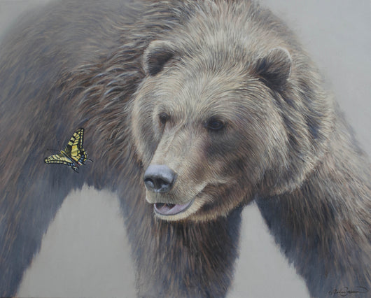 grizzly bear watches butterfly original oil painting fine wildlife art