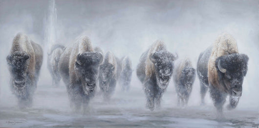 giants in the mist yellowstone bison winter painting by james corwin wildlife artist