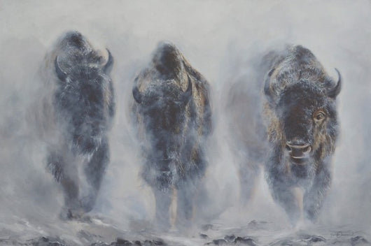 giants in the mist bison buffalo yellowstone winter limited edition print by james corwin fine art wildlife montana artist