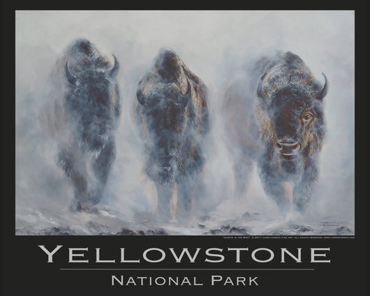 giants in the mist bison in winter yellowstone national park poster by wildlife artist james corwin fine art