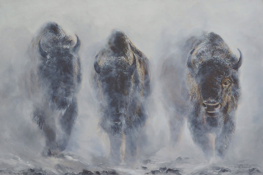 giants in the mist american buffalo bison emerge from snow in yellowstone wildlife painting by artist james corwin