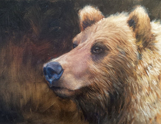 a portrait of a grizzly bear by wildlife artist james corwin oil painting