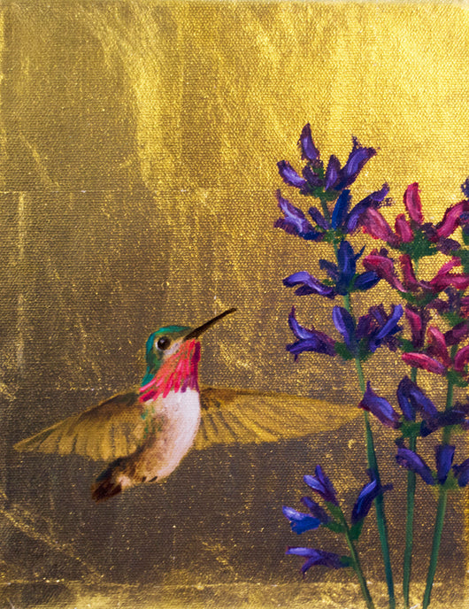 Hummingbird #2 - Oil on 24k Gold