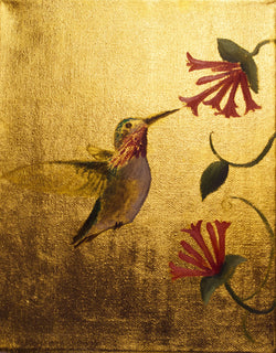 Hummingbird #3 - Oil on 24k Gold