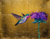 Hummingbird #1 - Oil on 24k Gold