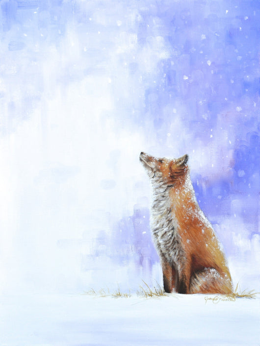 a red fox peacefully watches snow fall original oil painting by james corwin wildlife artist