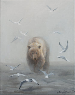 seagulls make way for alaskan brown bear oil painting by james corwin wildlife artist