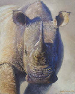 khaleesi african white rhino portrait painting by wildlife artist james corwin