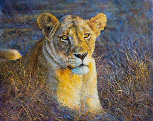 african lion watches the morning sunrise original oil painting wildlife art by james corwin