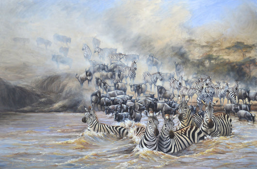 wildebeest and zebra migrate across the plains of Tanzania following the green grass and weather belt, eventually crossing the treacherous waters of the Mara River wildlife painting by artist james corwin