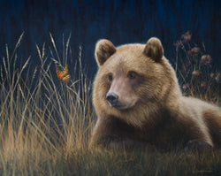 grizzly bear monarch butterfly wildlife oil painting fine art by james corwin artist