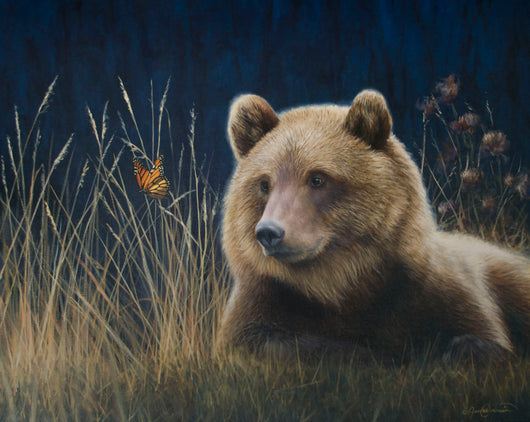 grizzly bear and monarch butterfly oil painting by james corwin fine art wildlife artist