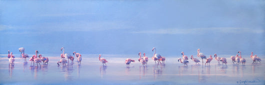 nakuru flamingos oil painting by james corwin fine art wildlife artist