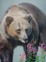 grizzly bear and butterflies bumblebees fireweed wildlife oil painting by james corwin fine art montana