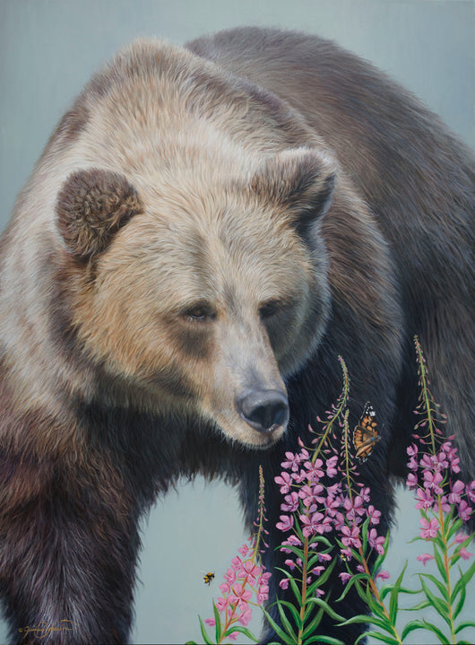 grizzly bear and butterflies bumblbees fireweed wildlife oil painting by james corwin fine art montana
