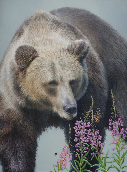 grizzly bear watches butterflies and bumblebees on alaskan fireweed wildflower calm relaxed wildlife oil painting fine art by james corwin