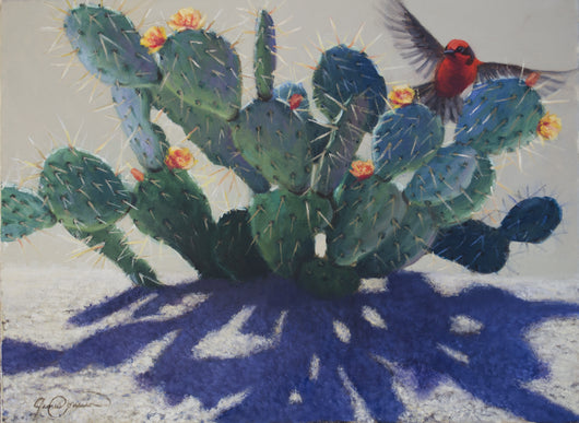 prickly pear cactus vermillion flycatcher contemporary painting by wildlife artist james corwin