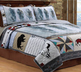 Western Bison Buffalo Rustic Bed Quilt Set w/ 2 Shams