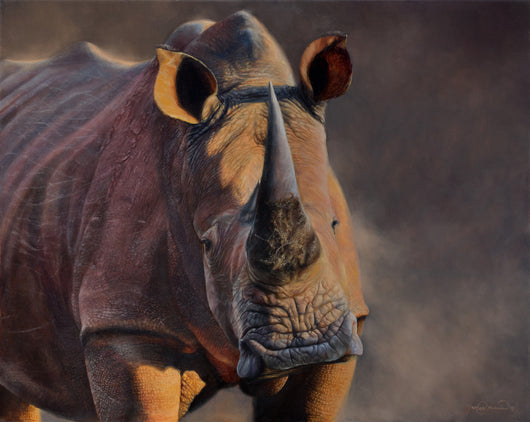 portrait of a rhino original oil painting wildlife art
