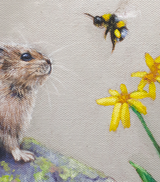 A Pika and a Bumble Bee - 9x12 Oil on canvas