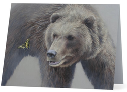 grizzly bear butterfly glacier national park western wildlife painting by james corwin fine art notecard