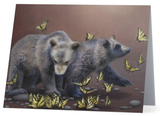 grizzly bear cubs butterfly glacier national park western wildlife painting by james corwin fine art notecard